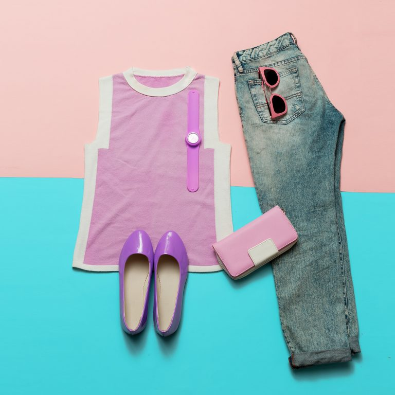 Fashionable Summer Look. Pink clothes and accessories. Jeans. Ca