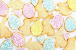 Iced Decorated Easter Cookies.
