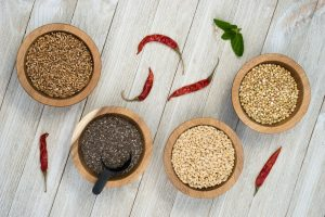 Whole Grains Chia Seeds and Peppers Superfoods
