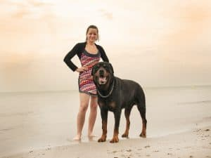 woman and rottweiler
