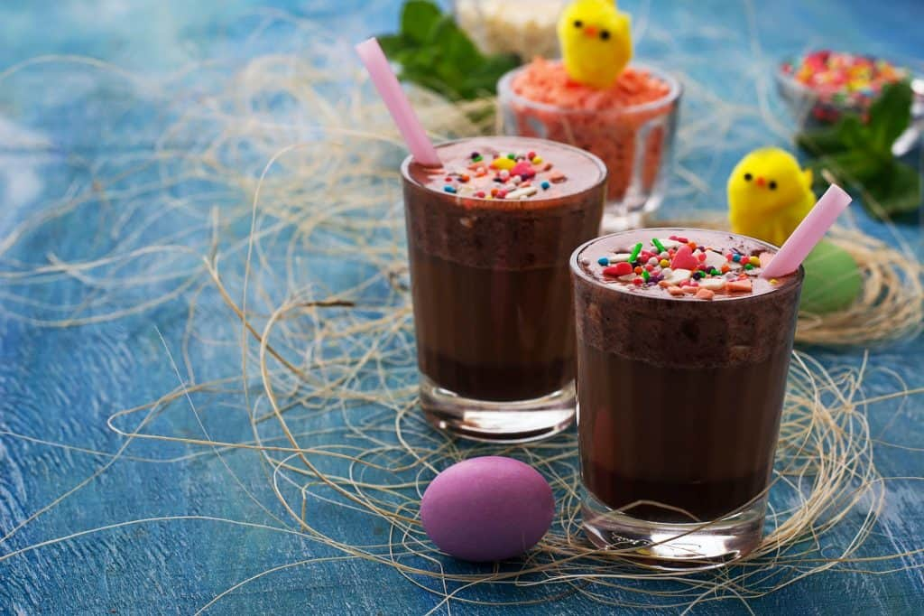 Chocolate Easter drink on blue background