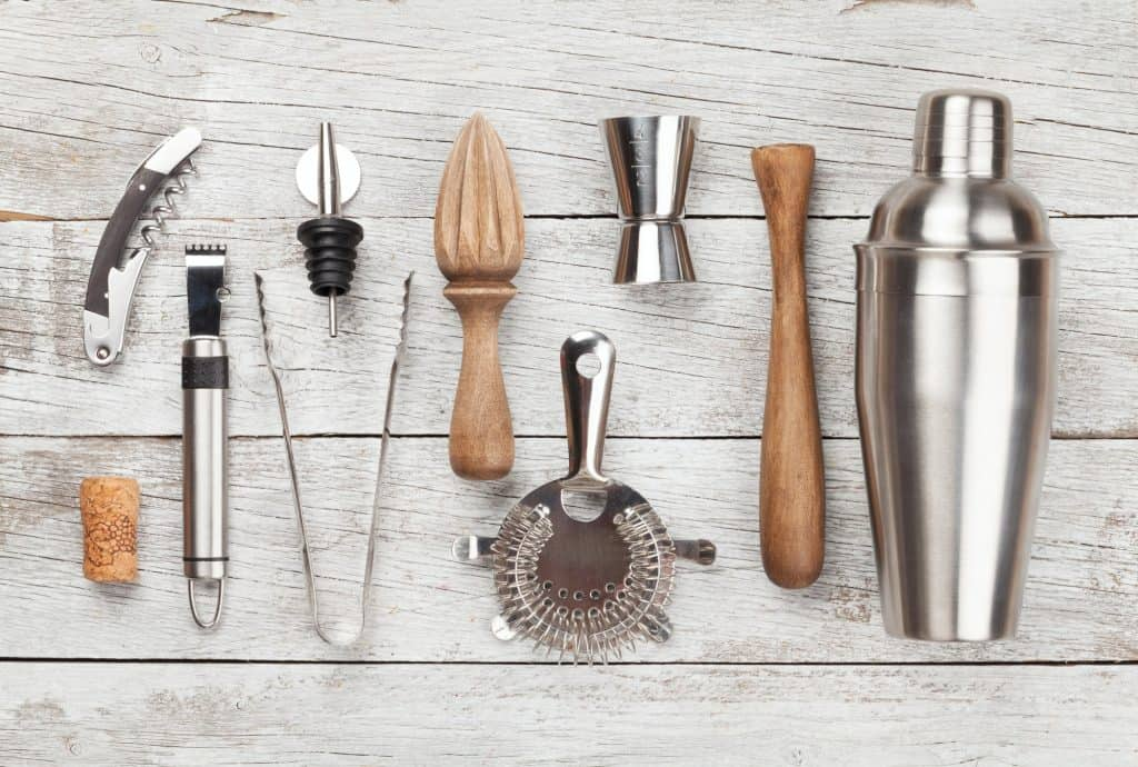 Cocktail utensils. Set of bar tools