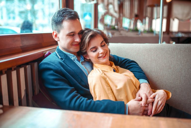 CHeerful love couple at romantic date
