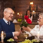 Cheerful senior couple happy about their date